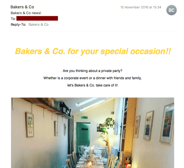 Email from Bakers & Co with four exclamation points in 2 sentences
