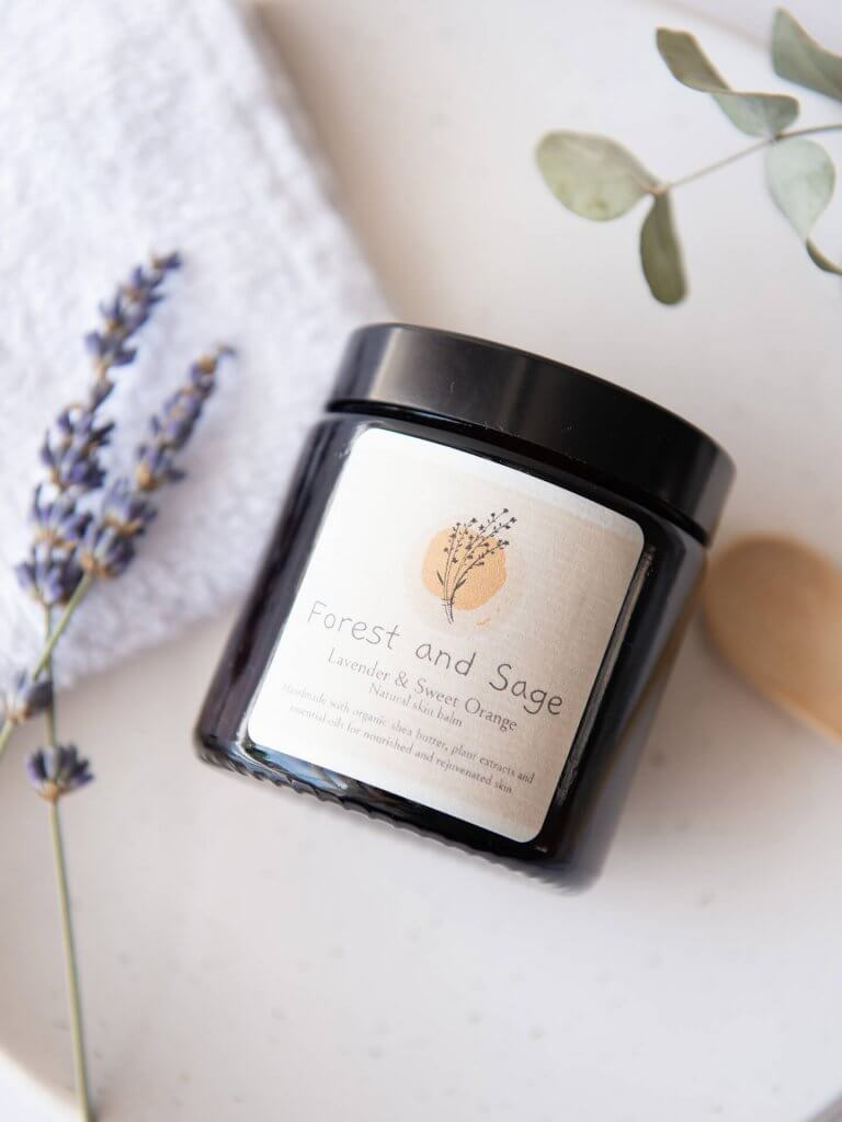 Forest and Sage Candle angled view lavender and sweet orange candle by Studio Cotton