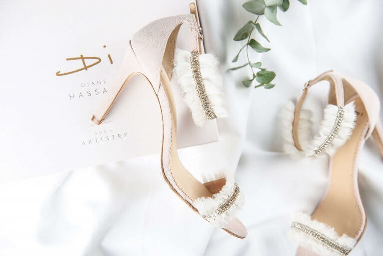 Wedding ankle strap with fringe heel above side view. Lifestyle fashion shoot for wedding shoe designer, Cotswold-based Diane Hassall by Studio Cotton