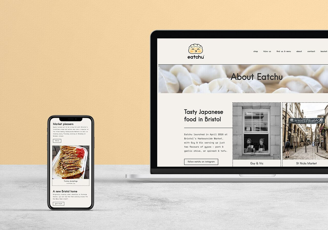Bristol based Eatchu website about us mock up on phone and laptop by Studio Cotton