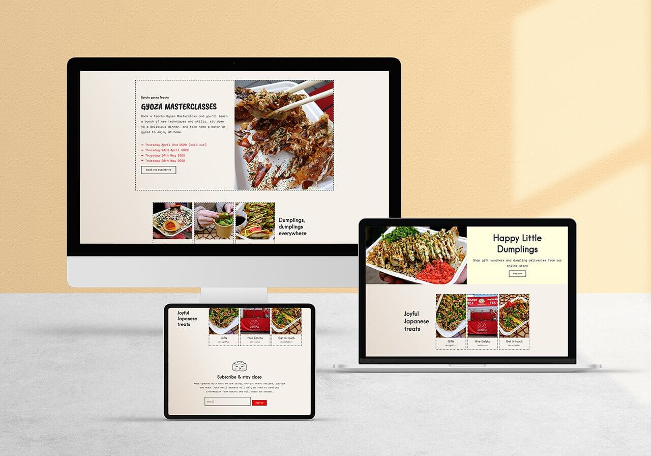 Bristol based Eatchu website mock up on desktop laptop and tablet by Studio Cotton