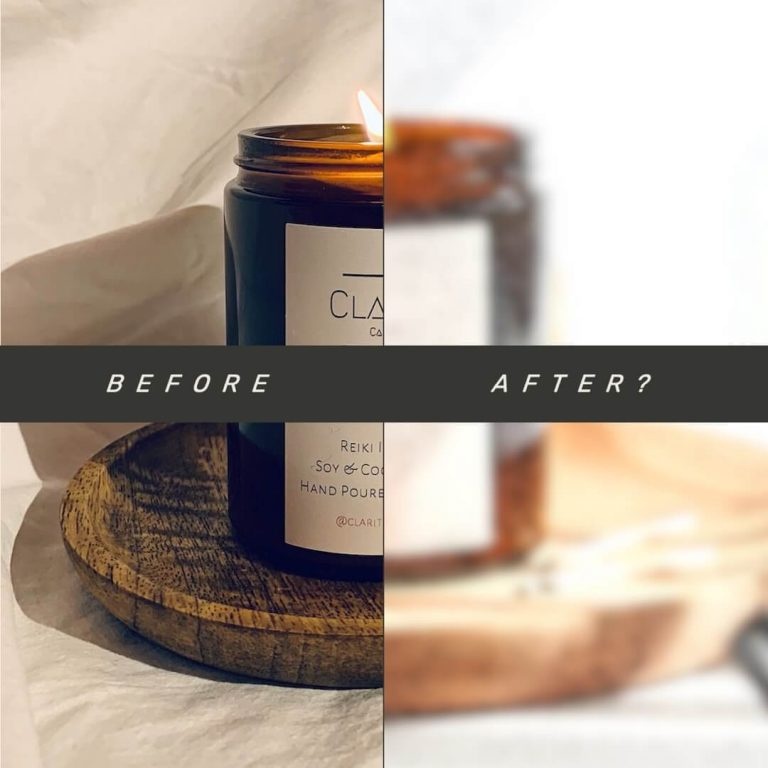 Before & After product photography makeover graphic