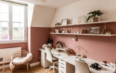 Office Two: Jodie & Weronika's desks and shelves filled with impractical yet pretty objects